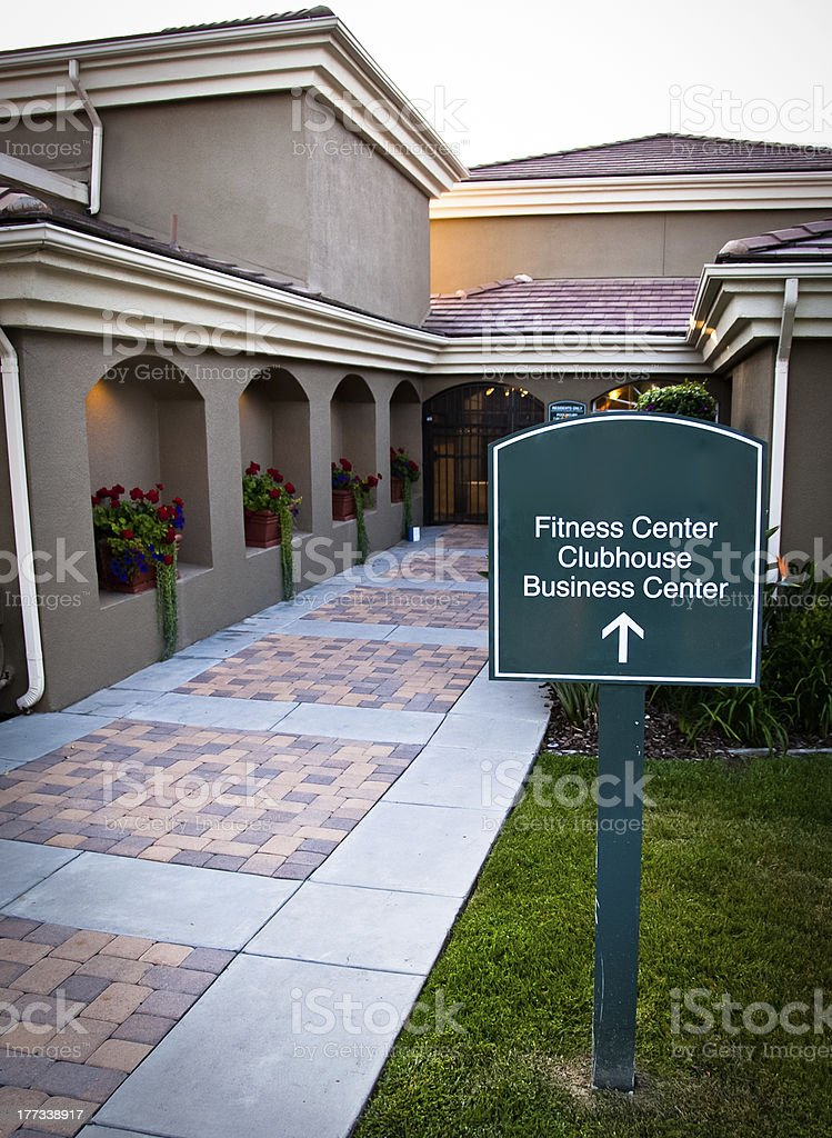 sign for the fitness business center and clubhouse stock photo