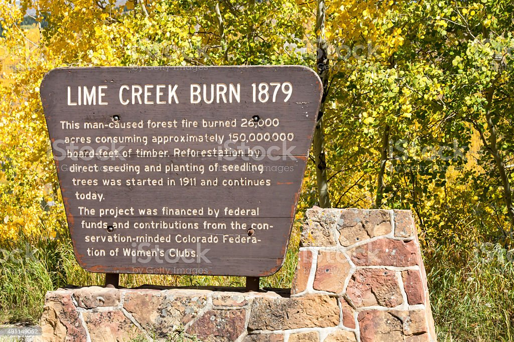 Sign for the Lime Creek Burn 1879 in Colorado stock photo