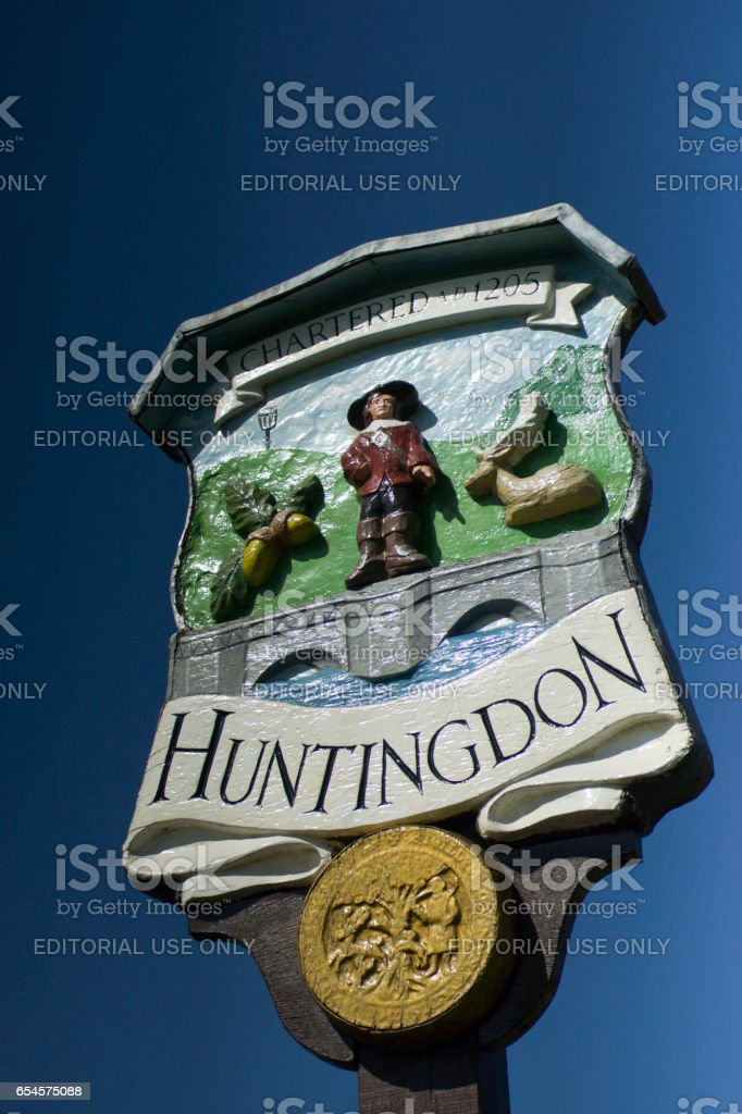 Sign for the Town of Huntingdon stock photo