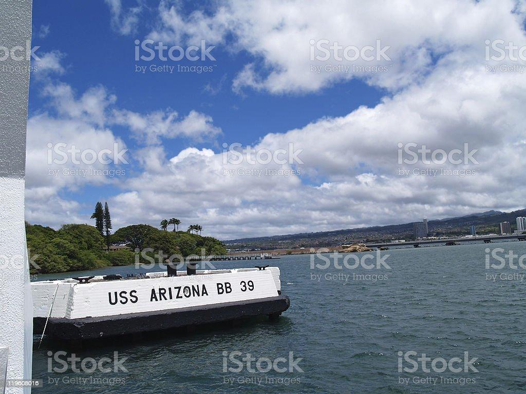 Sign for the USS Arizona Memorial in Pearl Harbor stock photo