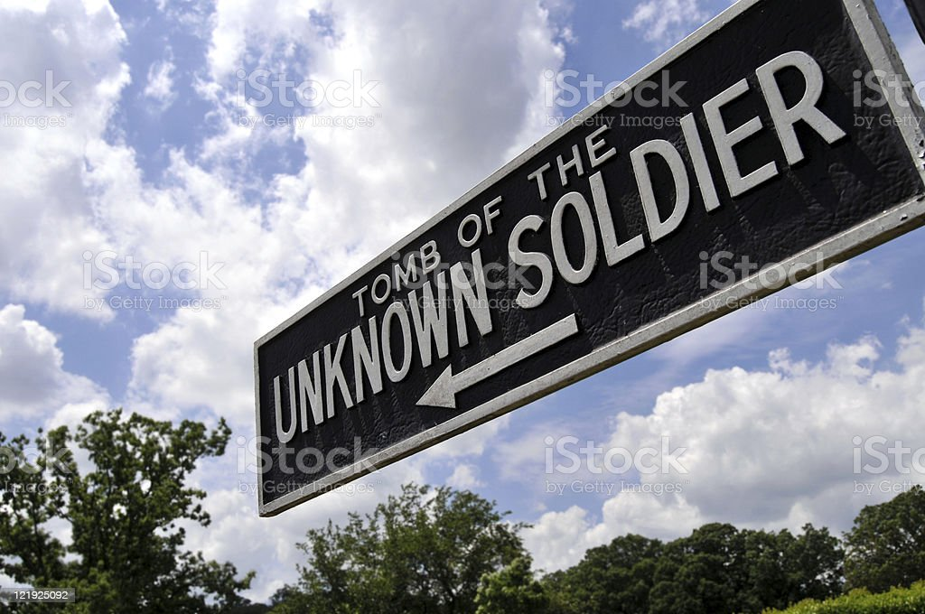 Sign for Tomb of the Unknown Soldier stock photo