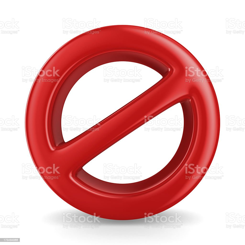 Sign forbidden on white background. Isolated 3D image royalty-free stock photo