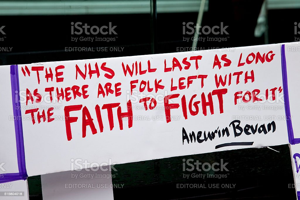 Sign Found at the Third Junior Doctors' Strike stock photo