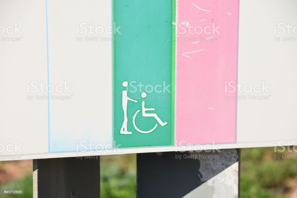 Sign handicapped route guidance stock photo