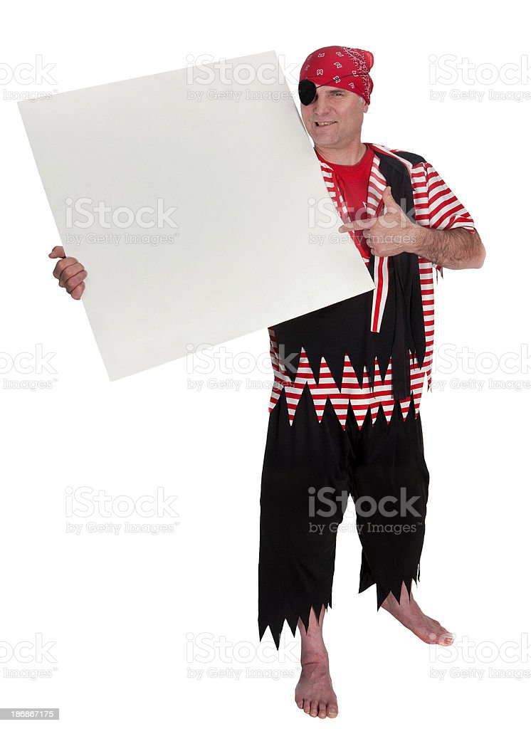 sign holding pirate royalty-free stock photo