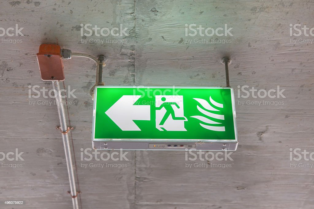 Sign - Illuminated Emergency Exit stock photo