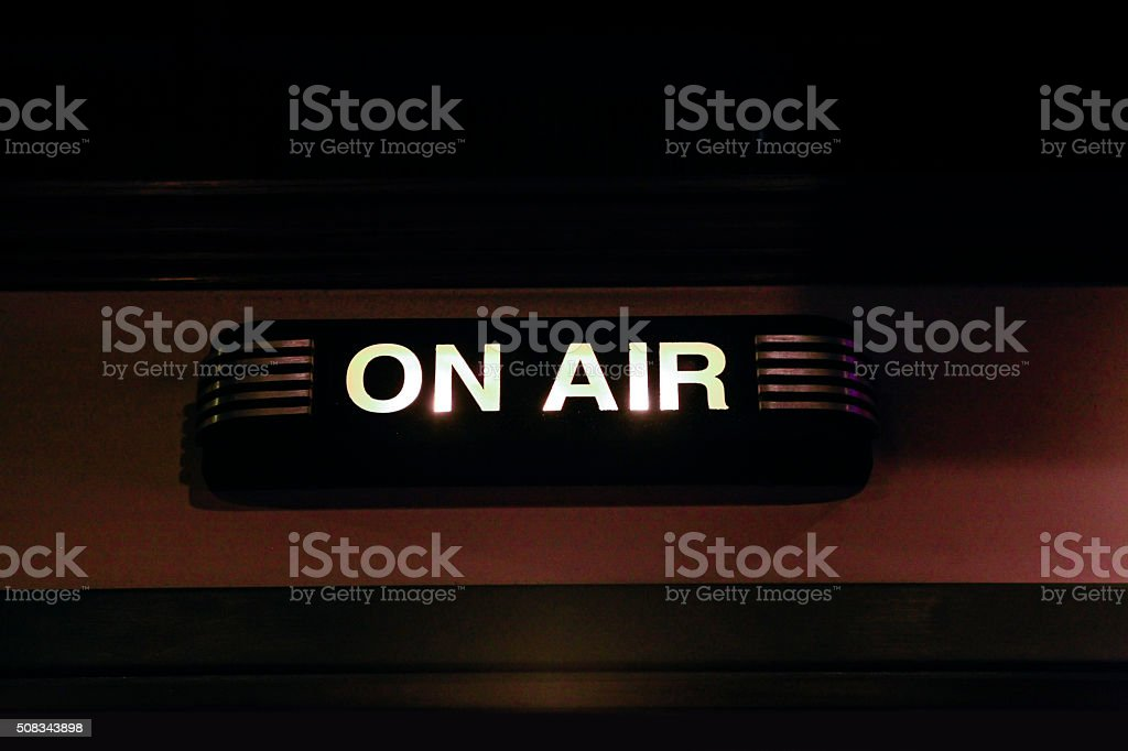 ON AIR sign in a recording studio stock photo