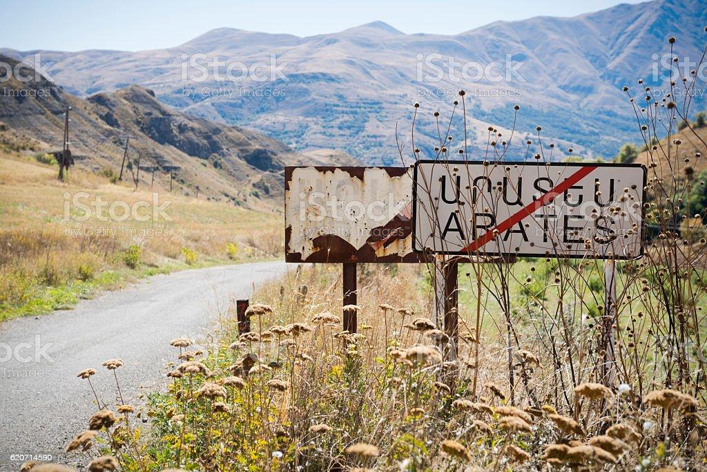 Sign in Arates, Armenia stock photo