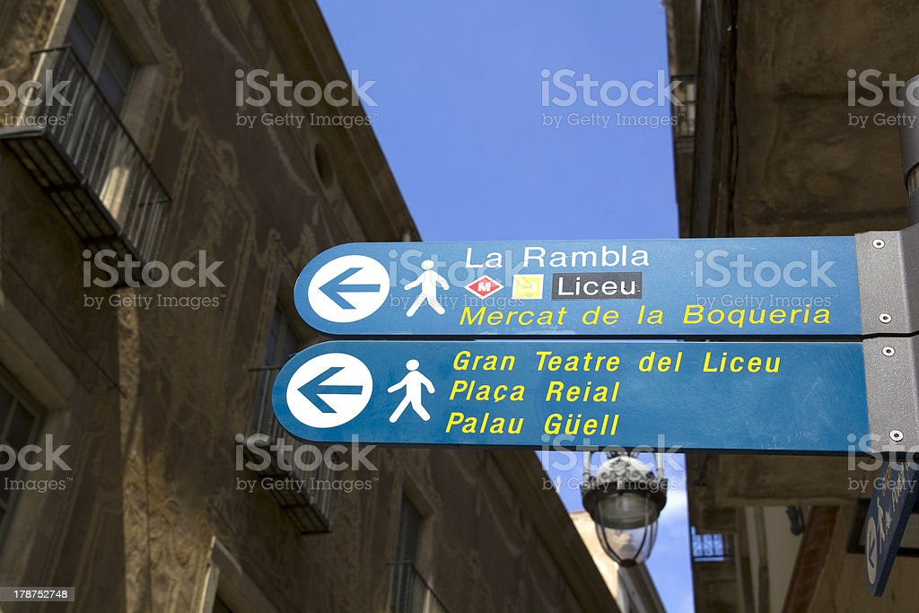 Sign in Barcelona stock photo
