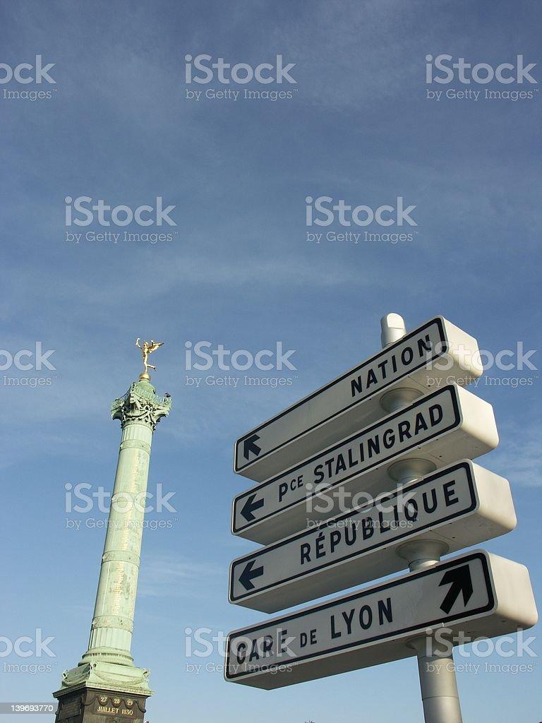 Sign in Bastille place (Paris) stock photo