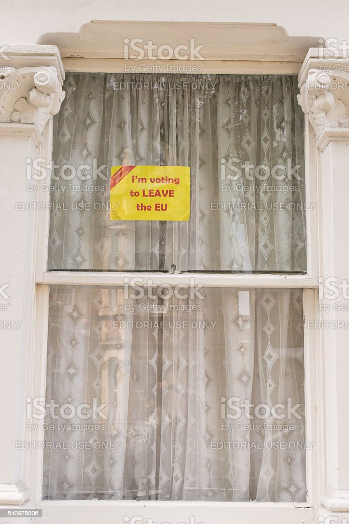 Sign in favour of leave the European Union stock photo