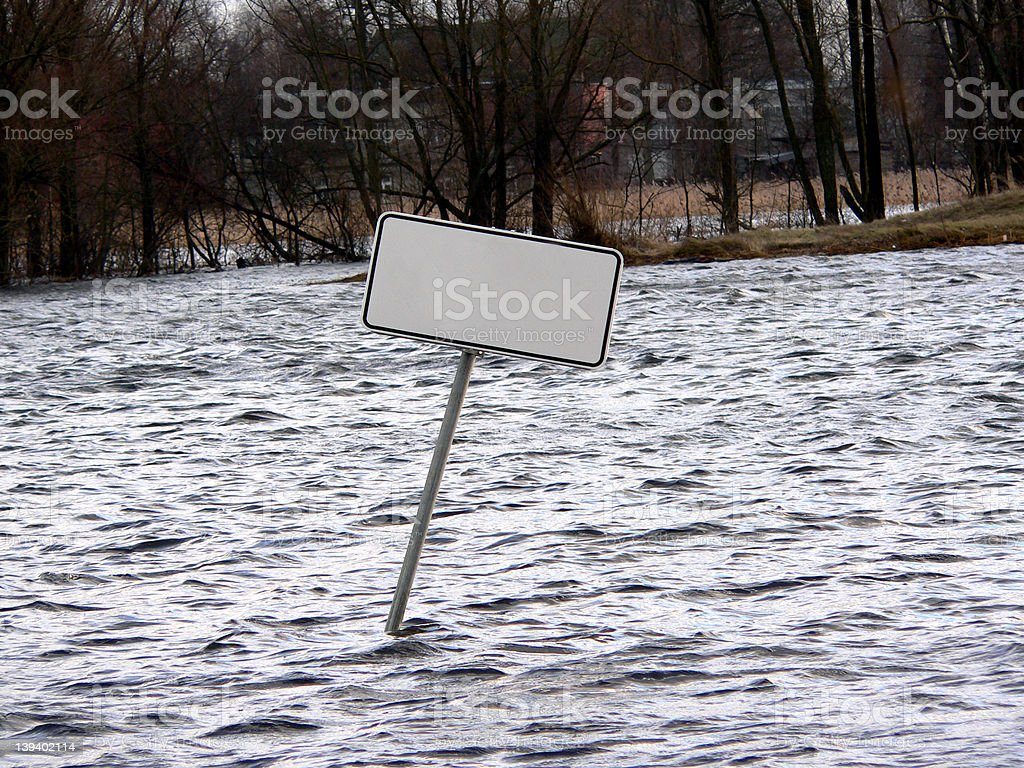 Sign in flood stock photo
