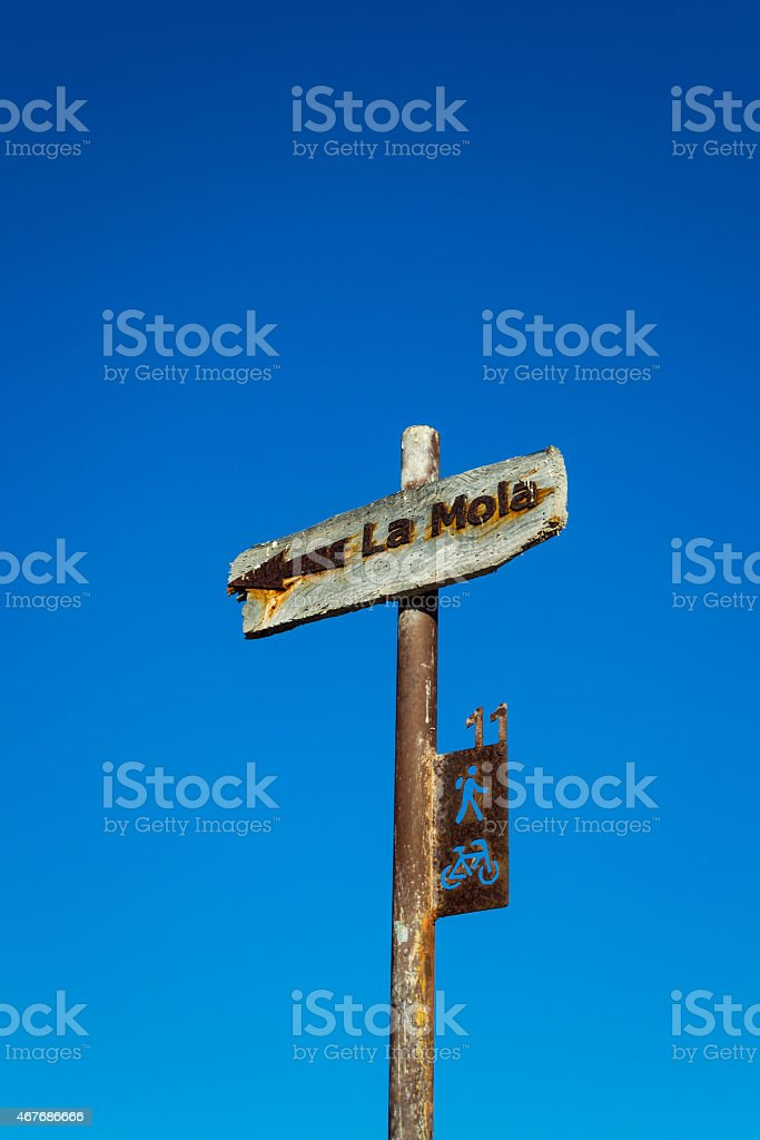 Sign in Formentera stock photo