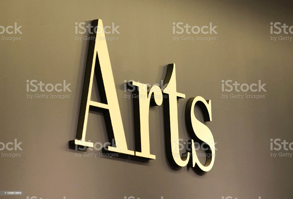 ARTS Sign in Gold Letters stock photo