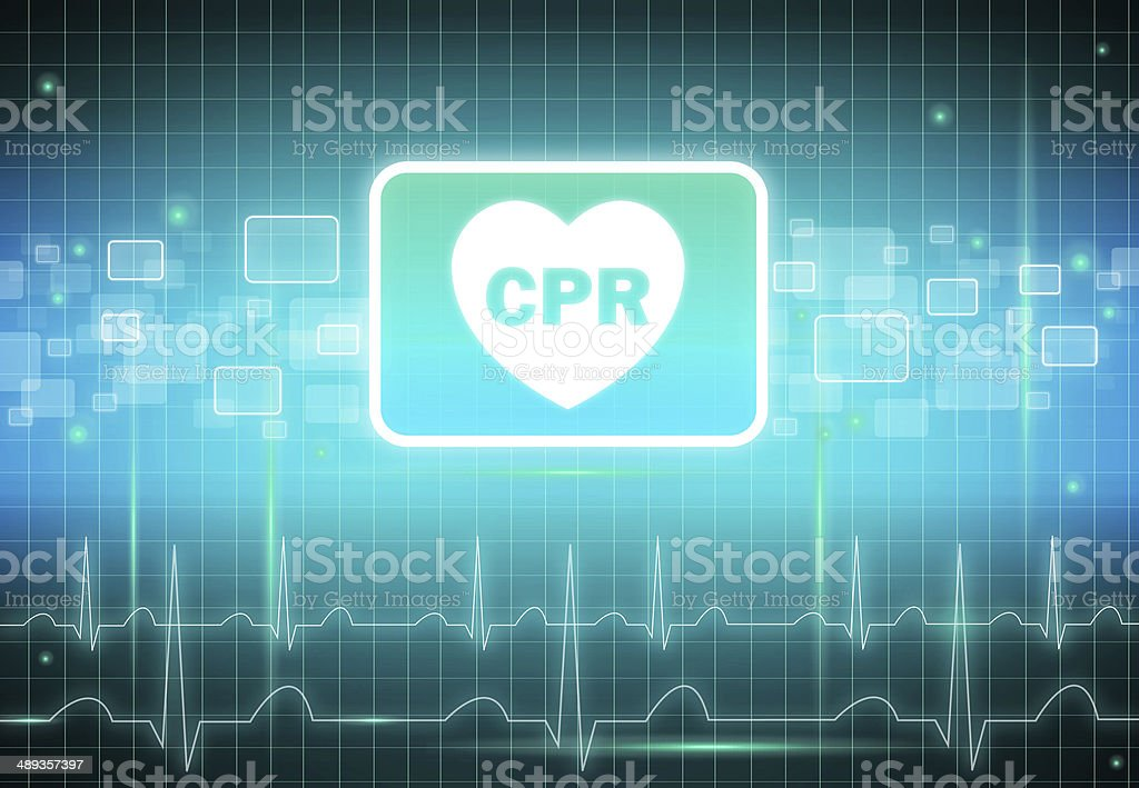 CPR sign in heart shape on virtual screen stock photo