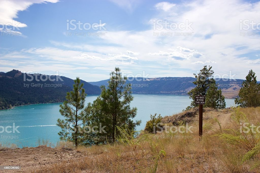 Sign in Kalamalka Lake Provincial Park, Vernon, British Columbia, Canada stock photo