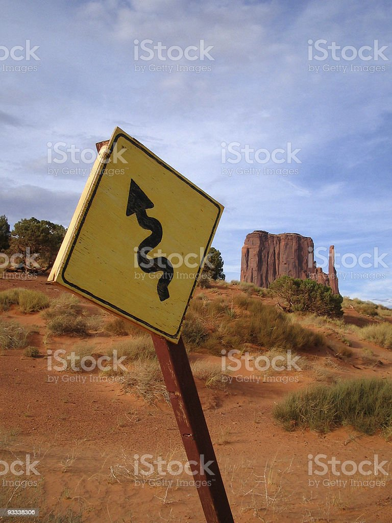 Sign in Monument Valley royalty-free stock photo