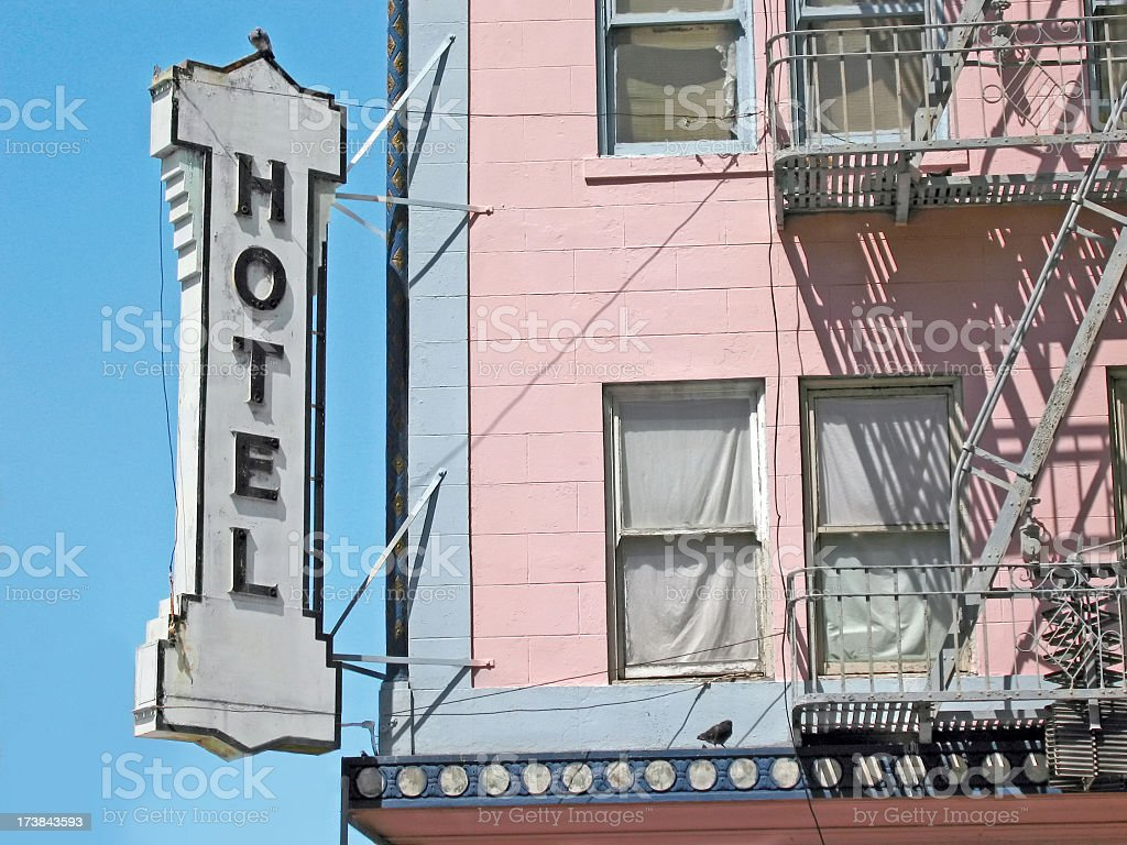 HOTEL Sign in San Francisco on Pink Building stock photo