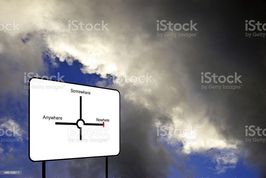 Sign in the sky pointing to anywhere,somewhere and nowhere stock photo