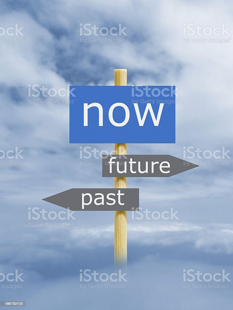 A sign in the sky representing now, the future, and the past stock photo