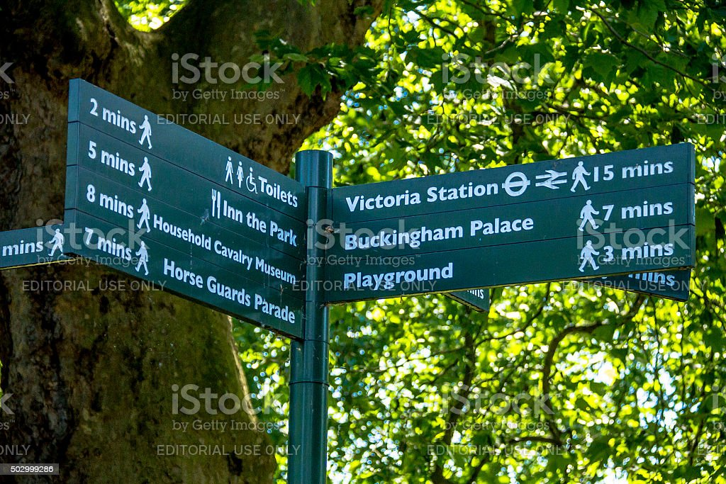 Sign indicates direction of movement in St. James park. London stock photo