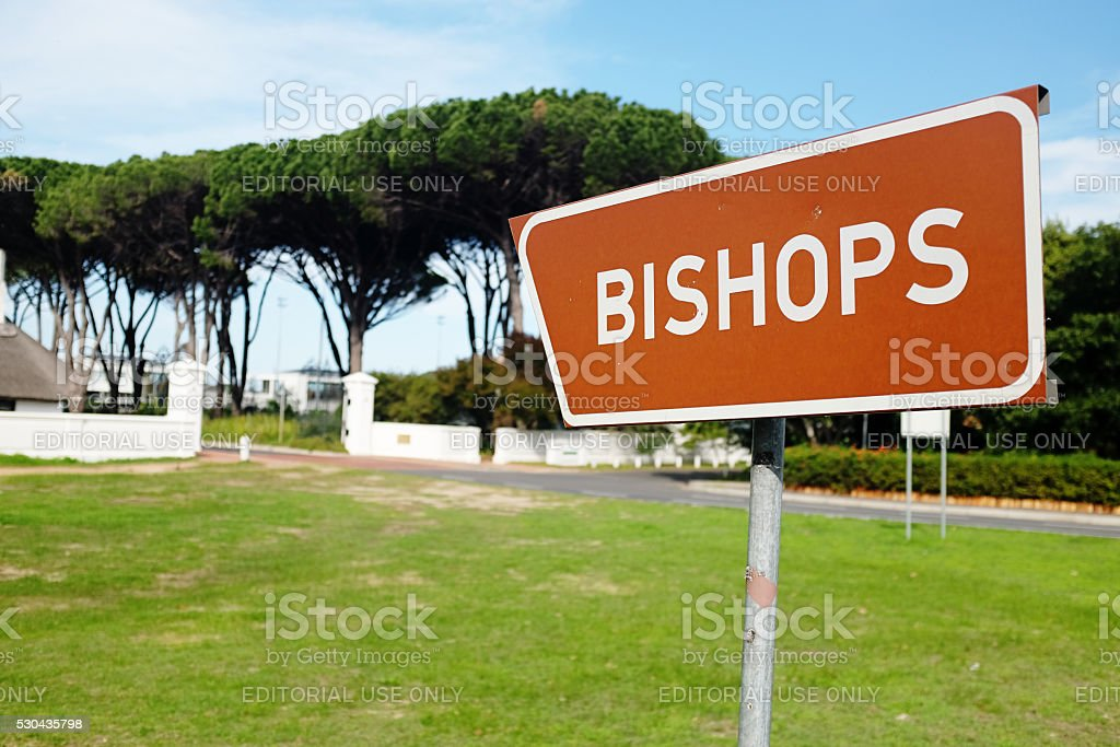 Sign indicating Diocesan College, better known as Bishops, Cape Town stock photo