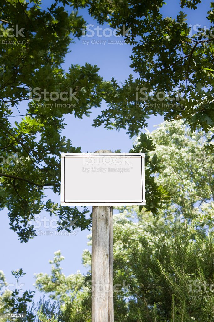 Sign indicating in the woods. royalty-free stock photo