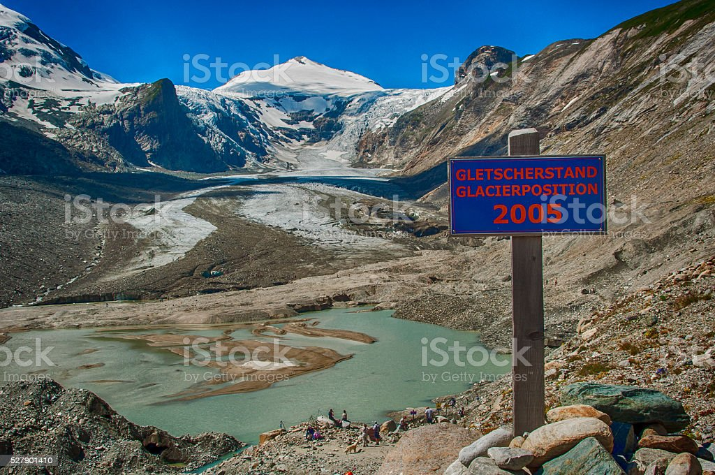 Sign indicating melting speed of  the Pasterze Glacier stock photo