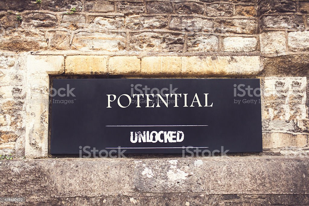 Sign indicating that potential is unlocked royalty-free stock photo