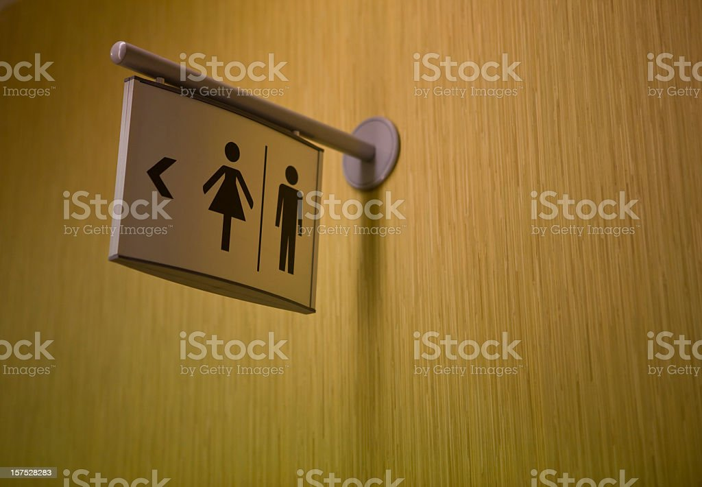 A sign indicating where the lavatory is stock photo