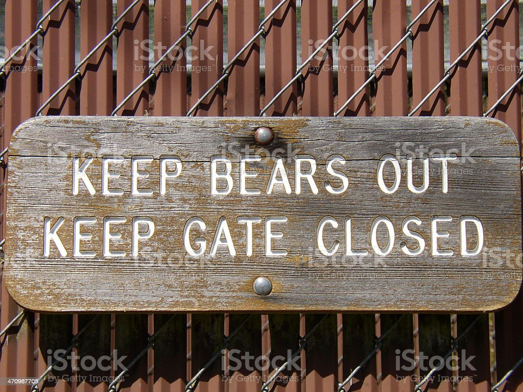 sign - keep bears out royalty-free stock photo