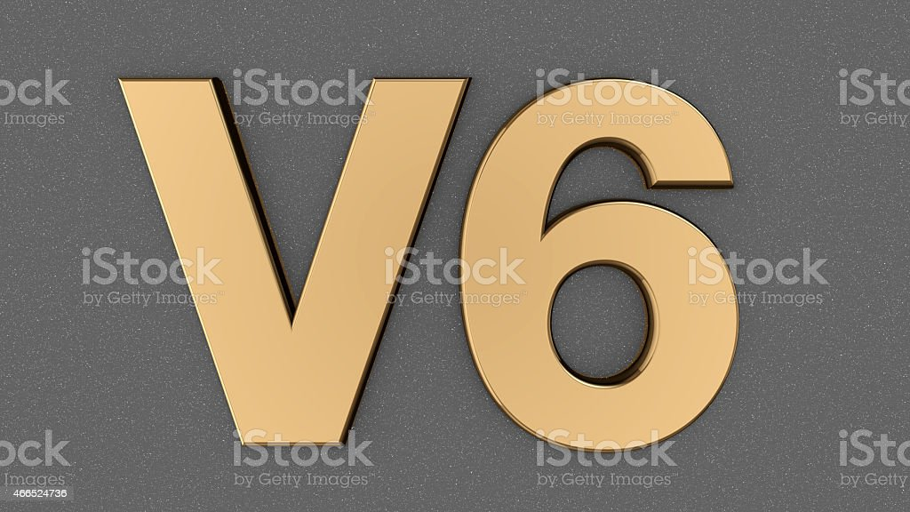 V6 sign, label, badge on car print. stock photo
