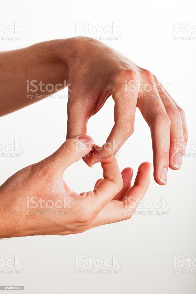 Sign language hand gesture for join stock photo