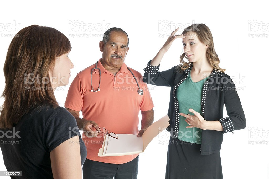 Sign Language Interpreter Signing SICK royalty-free stock photo