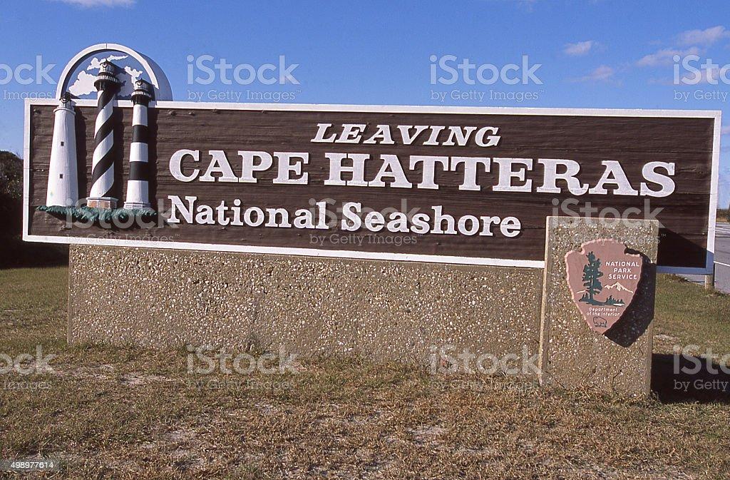 Sign Leaving Cape Hatteras National Seashore North Carolina stock photo