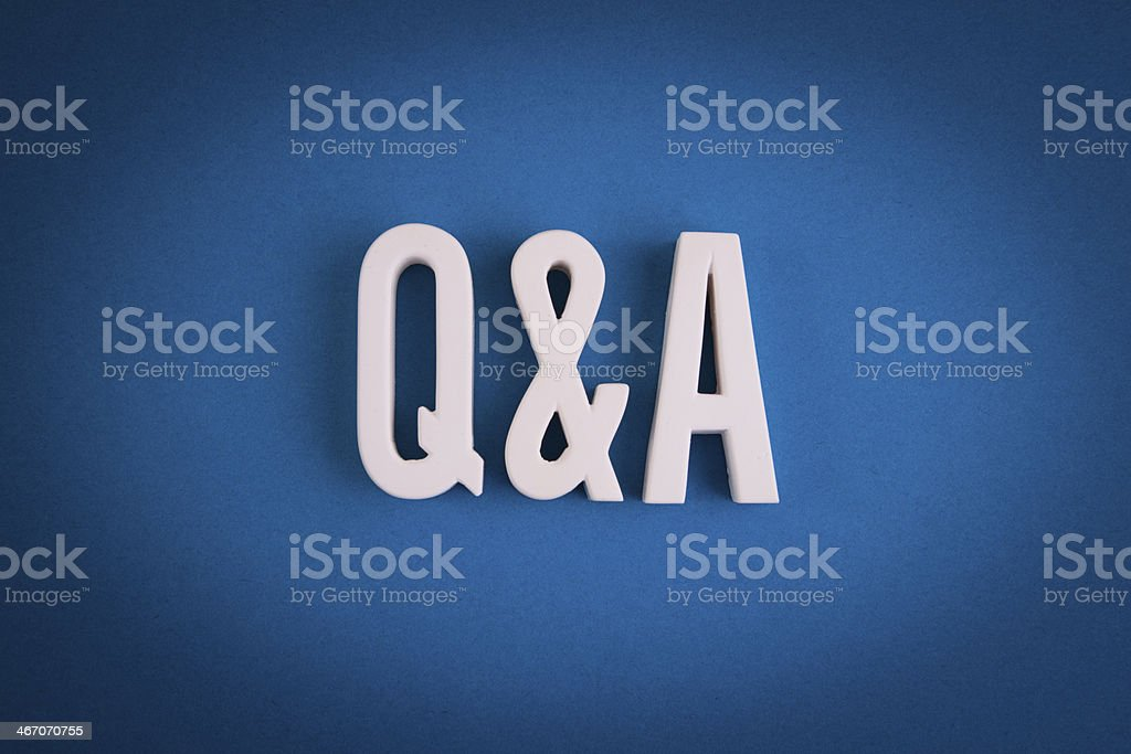 Q&A Sign Lettering stock photo