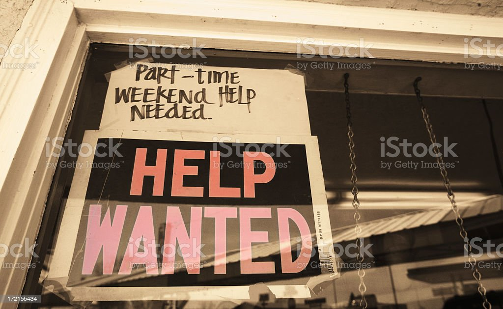 A sign looking for part time, weekend help needed stock photo