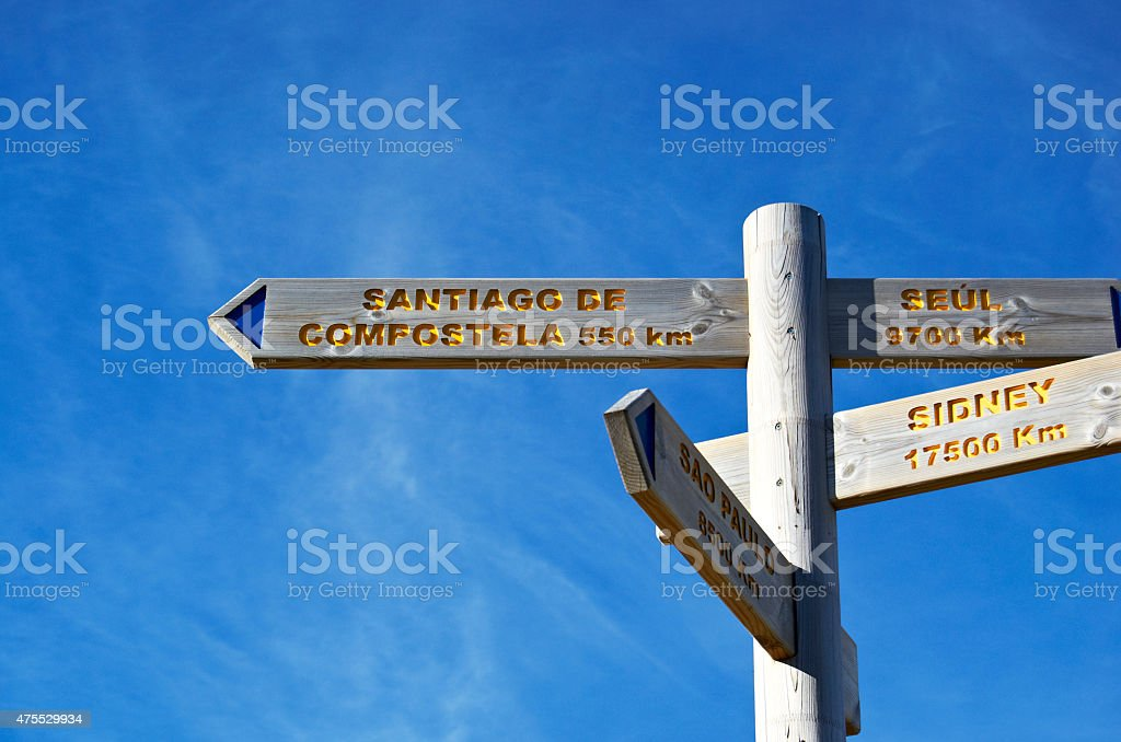 Sign marking the distance from Pamplona to Santiago de Compostela stock photo