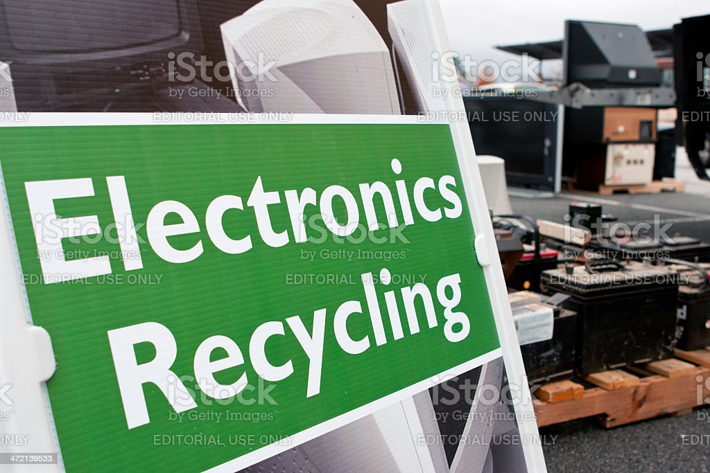 Sign Marks Spot For Electronics Dropoff At Recycling Event stock photo