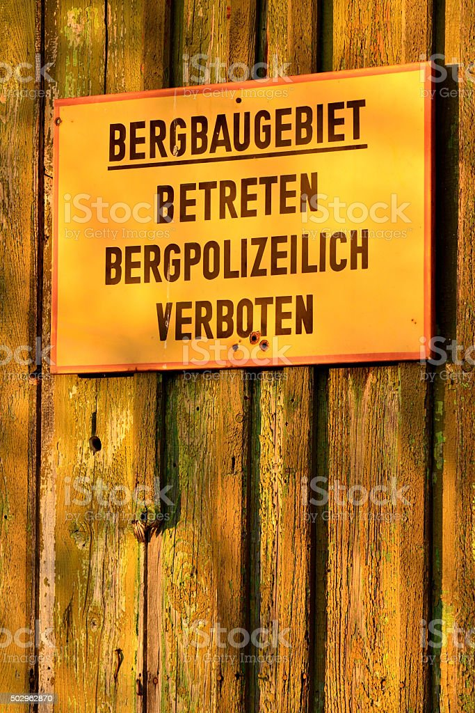 Sign (in german): Mining district stock photo