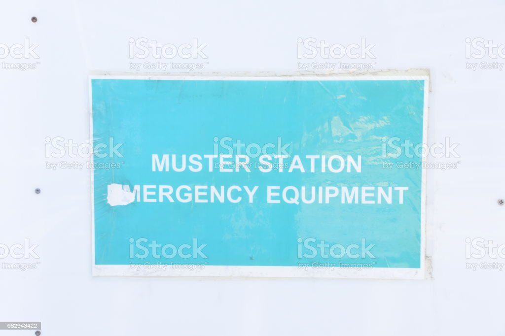sign - muster station emergency equipment stock photo