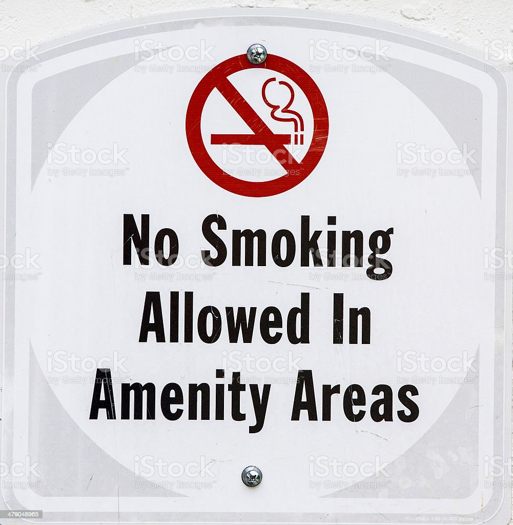 Sign: ' No smoking allowed in amenity areas' stock photo
