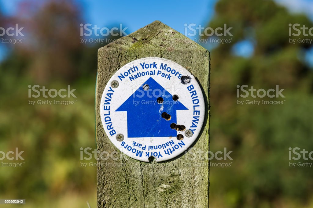 Sign: 'North York Moors, Bridleway' stock photo