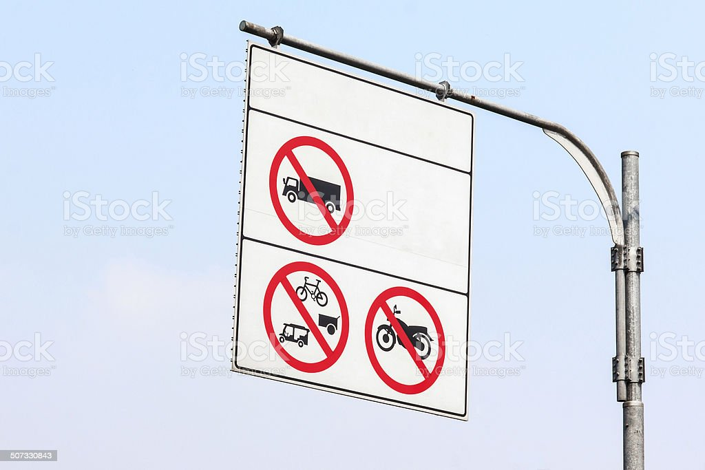 Sign not car less than 10 wheel stock photo