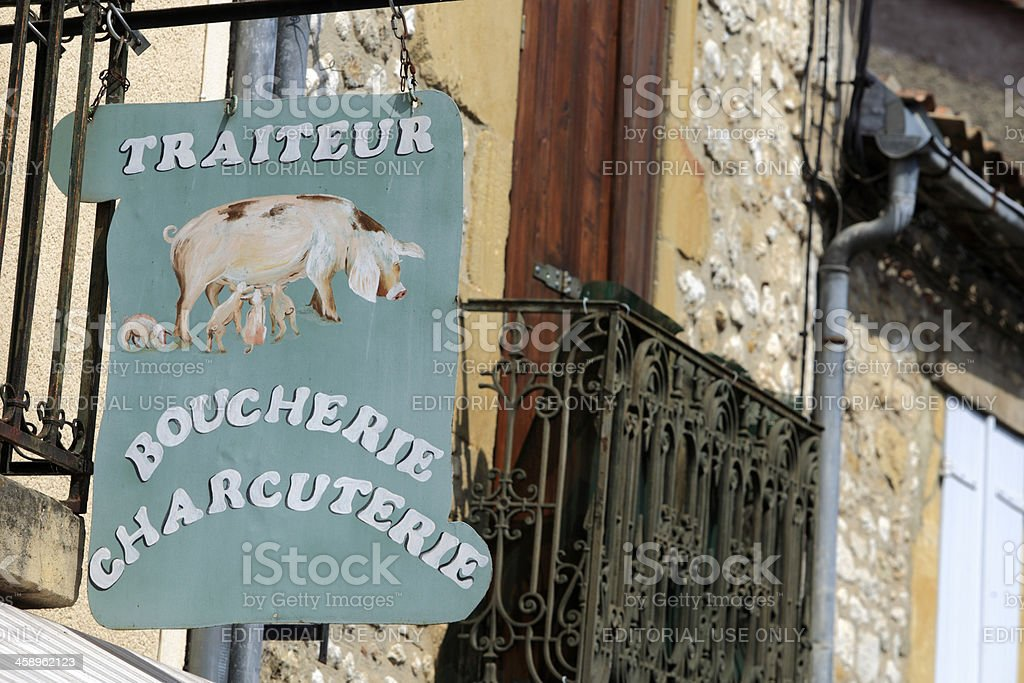 sign of a French butcher in the Dordogne royalty-free stock photo