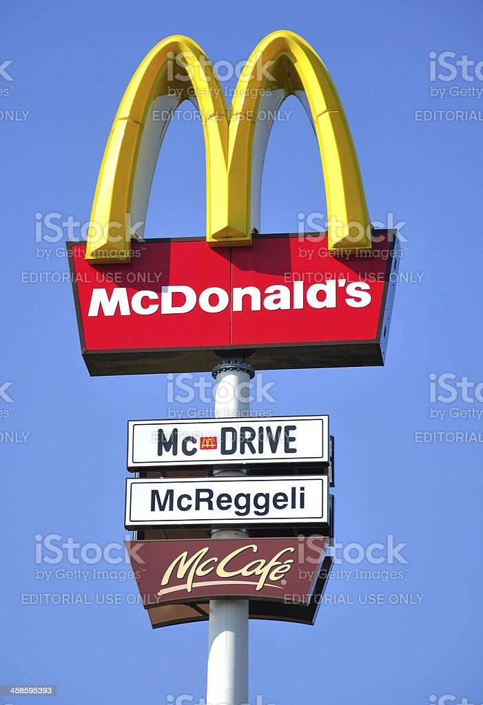 Sign of a McDonald's fast food restaurant royalty-free stock photo