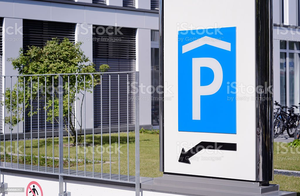 Sign of a parking garage stock photo