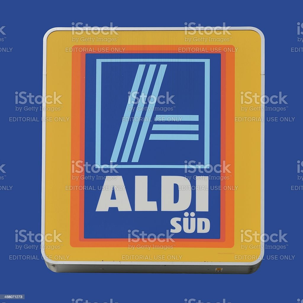Sign of an ALDI Store isolated on blue stock photo