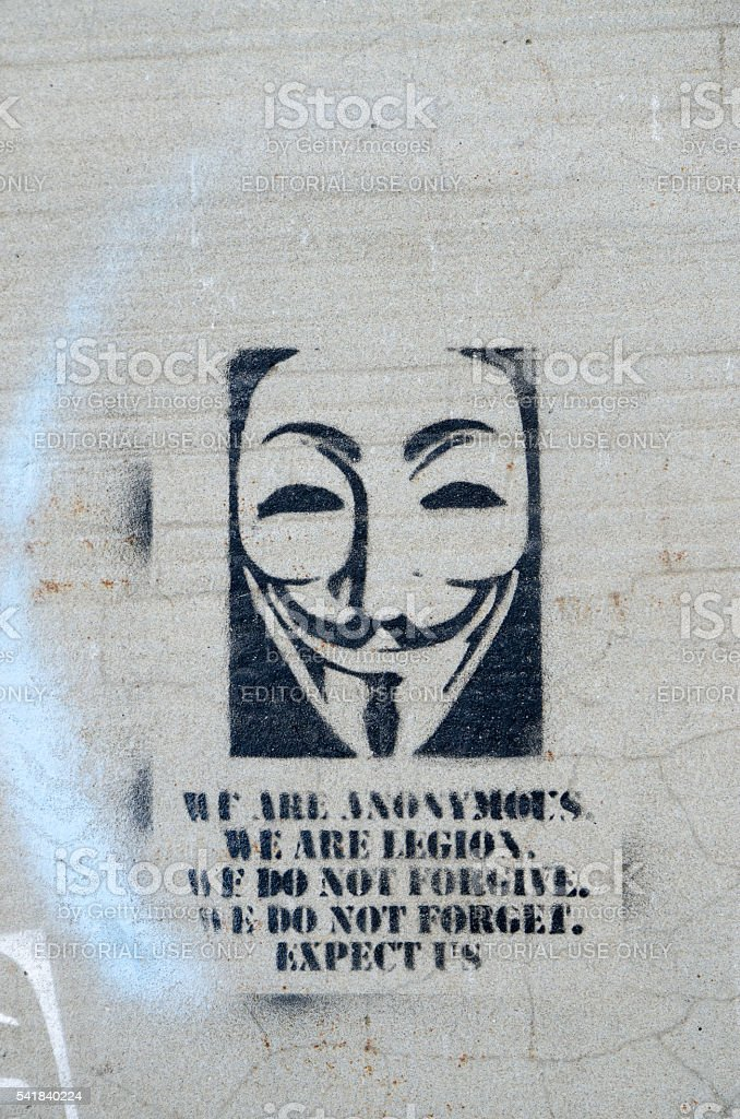 Sign of Anonymous painted on a concrete street stock photo