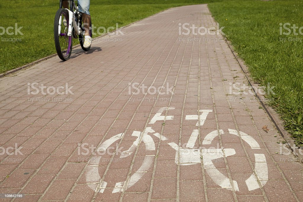 Sign of bicycle road in the city royalty-free stock photo